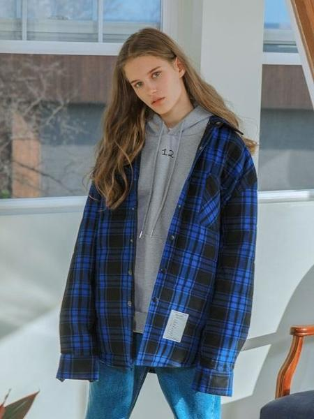 Unisex Balant Madras Type Gridquilted Shirt - Blue Check