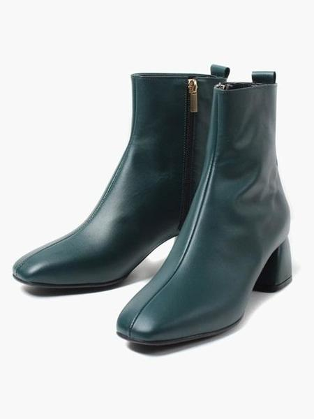 ROMANTIC MOVE Refined Square Tod Boots - Lux Green