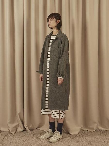 EOM Wool Shirts Dress - Light Grey