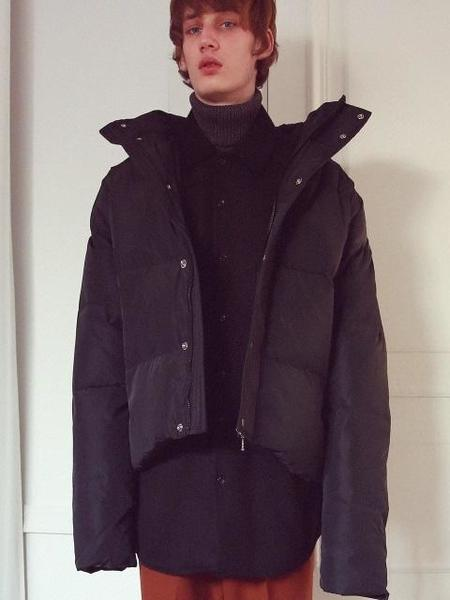 Unisex Anoutfit Overfit Duck Downshort Padding Jacket - Black