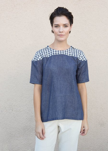 Wrk-Shp Gingham Yoke Box Top - Indigo Gingham