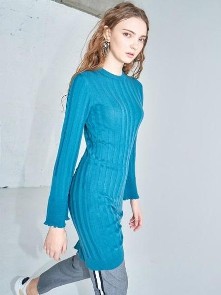 Ayiholic Cashmere Merino Wool One Side Slit Dress - Green