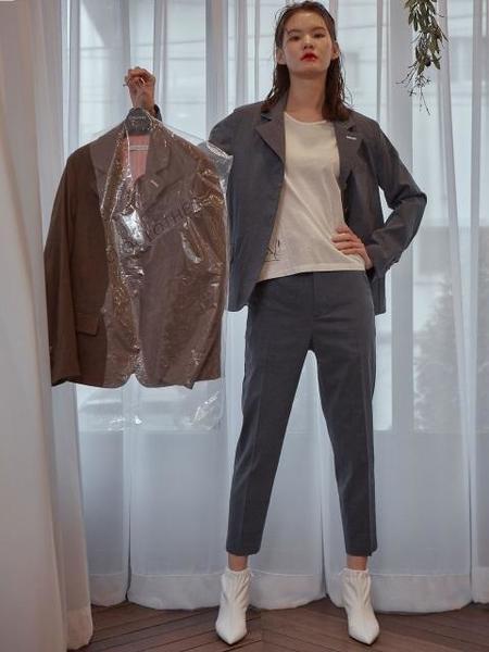 CLOCLOTHES Modern Linen Jacket - Blue