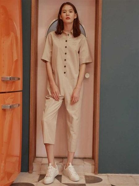 CLOCLOTHES Overall Pants - Beige
