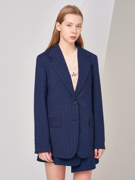 Aoemq Two-Button Plaid Jacket - Blue Check