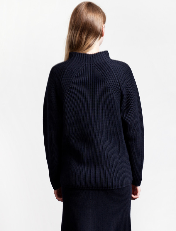 Lemaire High Neck Rib Sweater Midnight