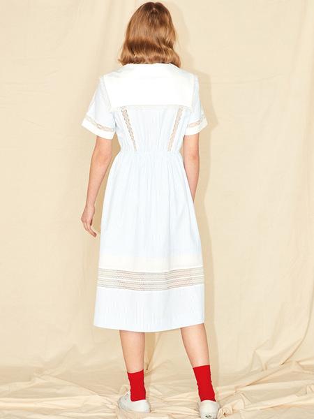 JOHNNY HATES JAZZ Big Collar Cotton Dress - Blue/Navy