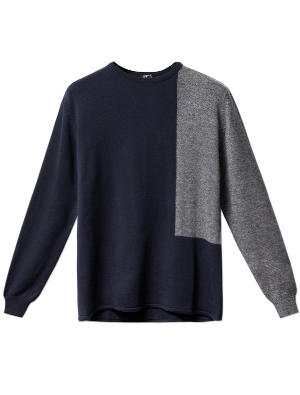 1205 Prose Contrast Panel Knit Navy/Grey