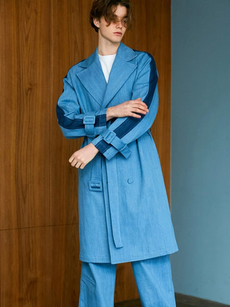 Bonnie&Blanche Denim Two Tone Trench Coat - Blue
