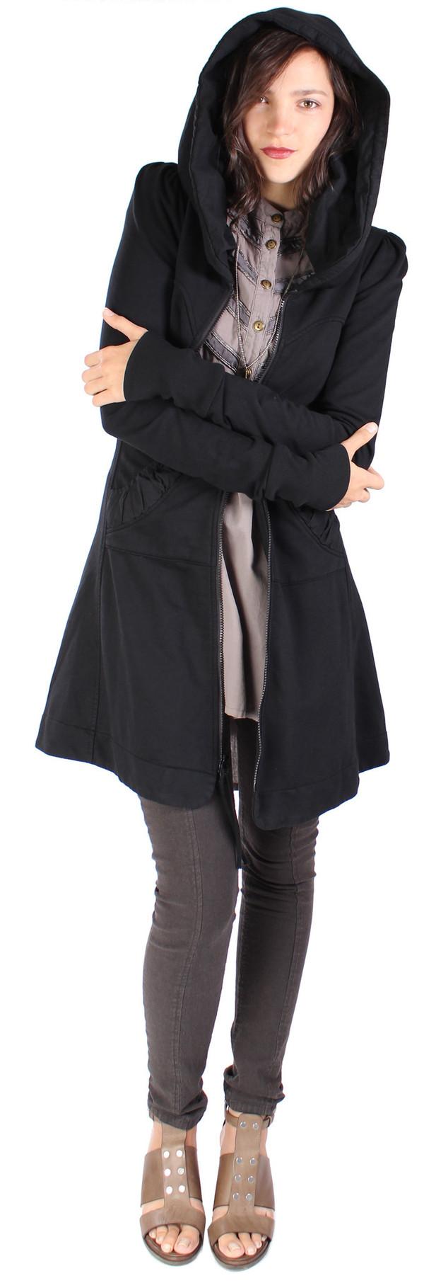 Prairie Underground Long Cloak Hoodie in Black