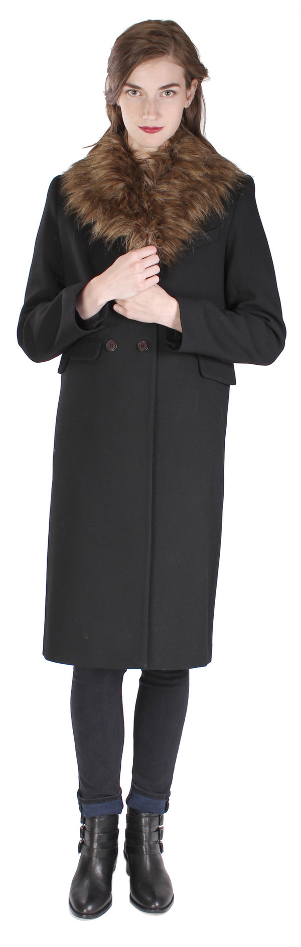 Smythe Tailored Coat with Removable Faux Fur