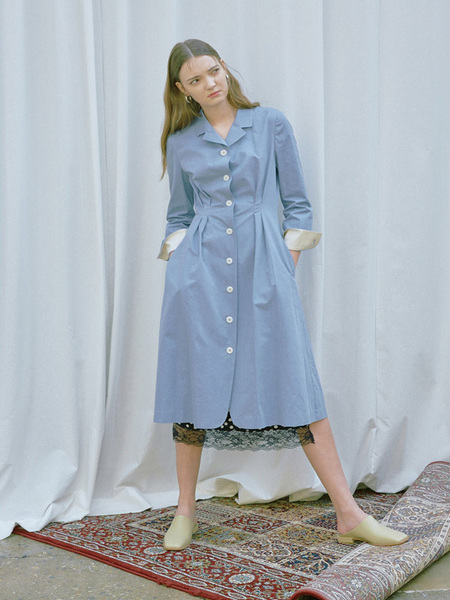 AND YOU Florence Shirt Dress - Corn Flower Blue