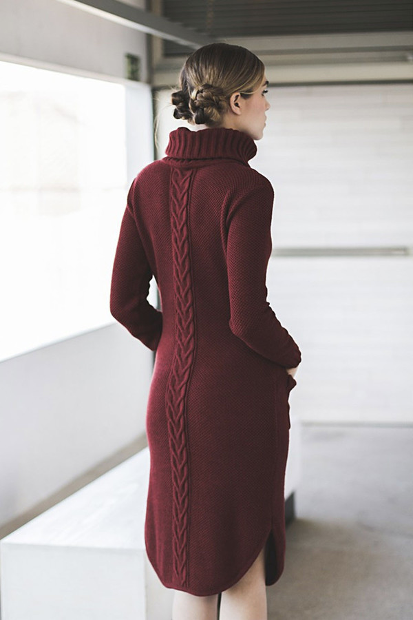 Livlov Burgundy Knitted Dress
