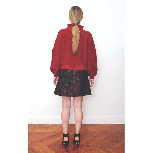 Livlov Red Leaf Print Skirt