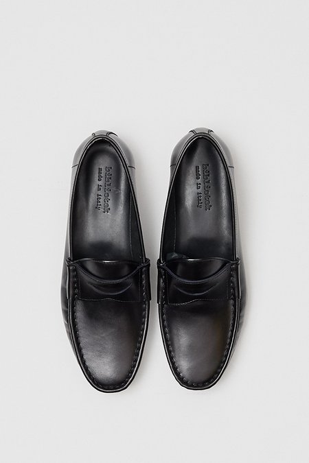 Bibliotek Smooth Leather Penny Loafer - Black