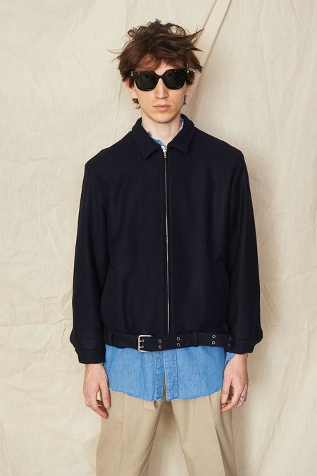 Assembly New York Wool Belted Zipcoat - Navy