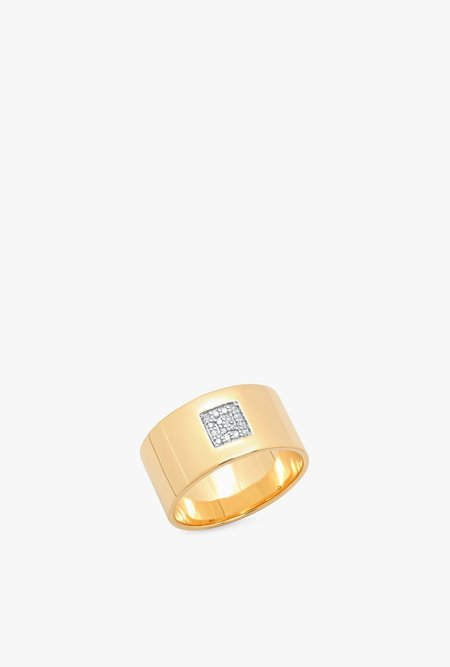 Eriness Cigar Band w/ Pave Diamond Square ring
