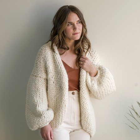 Hendrik.Lou Hand Knit Wool Cardigan - Cream