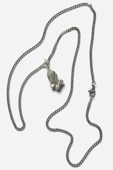 House of St. Clair PRAYING HANDS CHARM NECKLACE - WHITE BRONZE