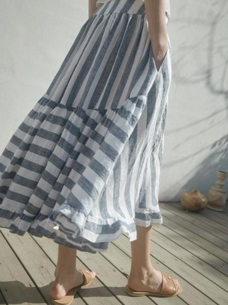 Akro Tiered Linen Skirt - Striped
