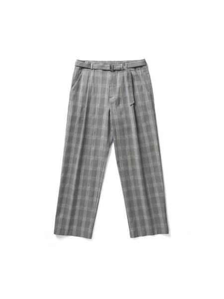 YOUTH Belted Wide Pants - Grey Check