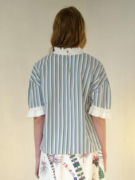 IANNMORE Stripe Ruffled Blouse