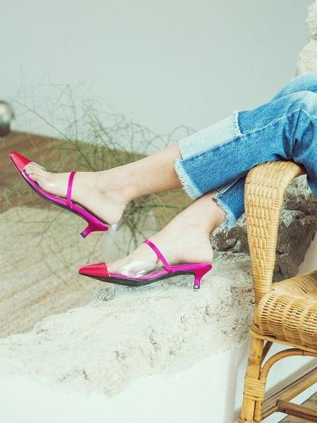 DITOLE Pointed Toe Two Tone Mule - Pink/Red