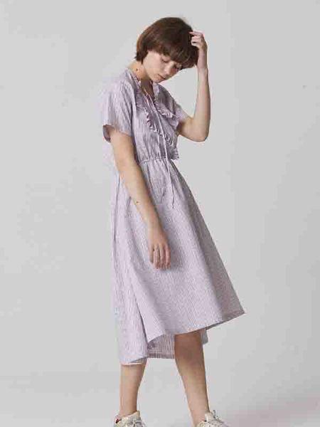 Bouton Check Ruffled Dress - White Check