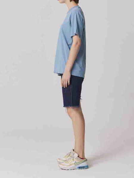 Bouton Tin Denim Shorts - Violet