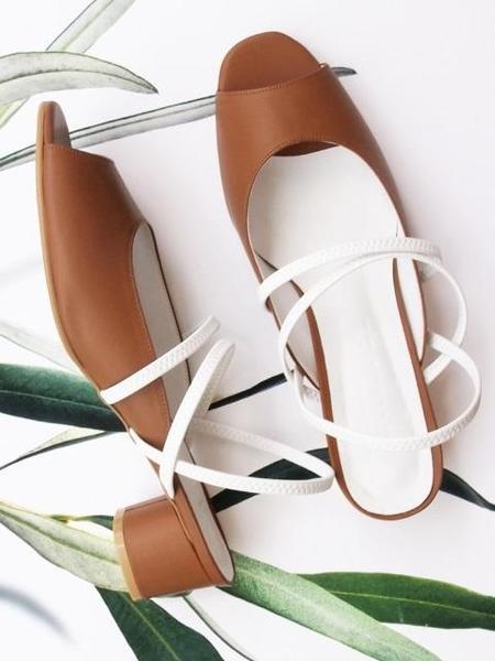 Attitude;L Sage Upper Two Strap Sandal - Tan/White