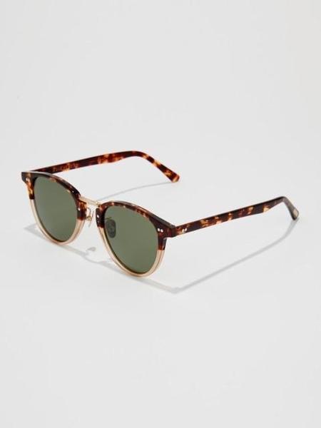 Unisex BVH Bold Frame Round Sunglasses - Demi Gold