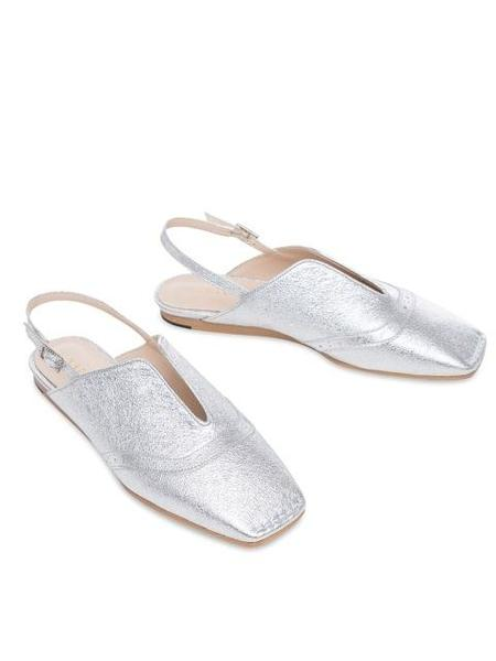 HAILI Lady Wing Tip Slingback Flat Shoes - Silver