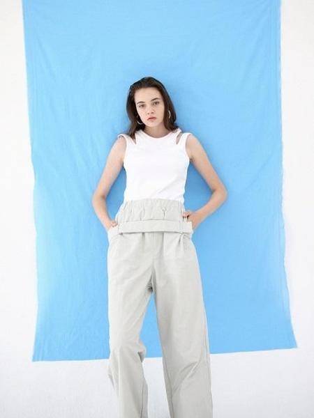 UNISEX B SLASH B Belted Trouser - Gray