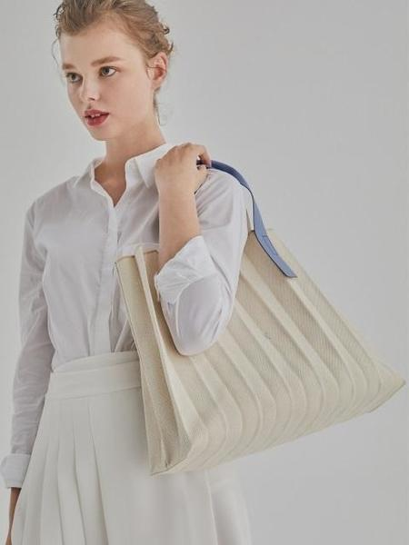 Joseph & Stacey Lucky Pleats Canvas Tote - Ivory 3 Colors