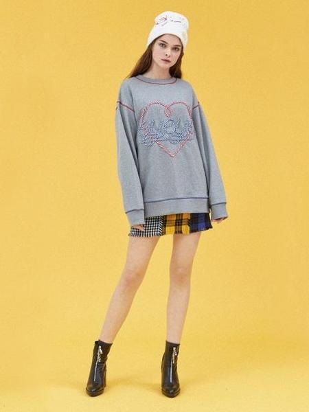Unisex EYEYE Heart Embroidery Sweatshirt - Grey