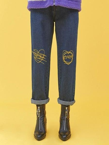 EYEYE Heart Embroidery Denim Pants - Blue