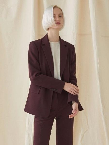 Millogrem One Button Basic Jacket - Wine