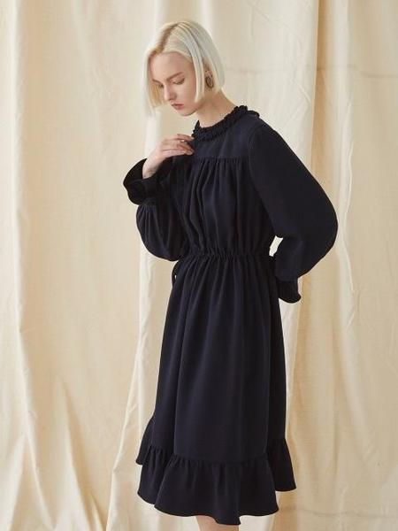 MILLOGREM Strap Shirring Dress - Navy
