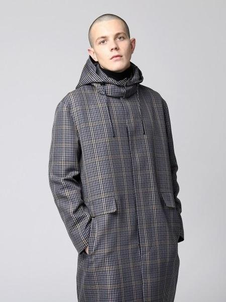 GRAY HUE Multi Check Trench Coat - Navy