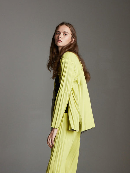 OUAHSOMMET Reversible Pleated Cardigan - Yellow