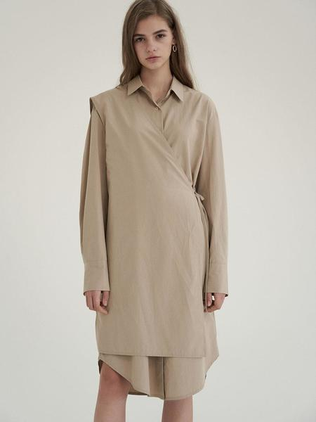 Cereal Signature Shirt Wrap Dress - Beige