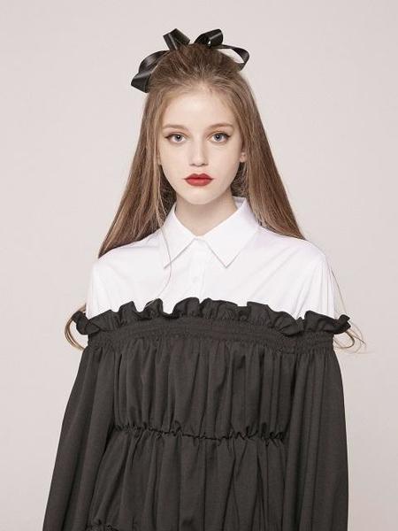 CLUT STUDIO Combination Shirt Dress - Black