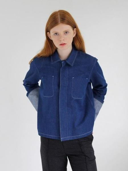 B SLASH B Rolling Up Denim Shirt - BLUE