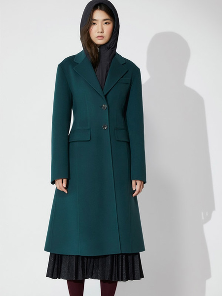 AHEIT Tailored Single Breasted Handmade Coat - Turquoise