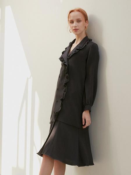 ATRE Double Button Dress - Black