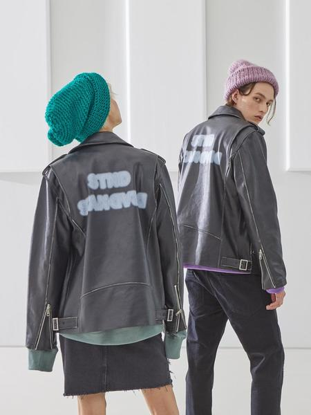 UNISEX GENERAL IDEA STANDARD Leather Rider Jacket - BLACK