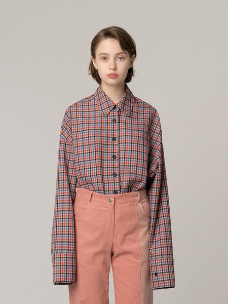 ROCKET X LUNCH R Hem String Multi Check Shirt - Beige
