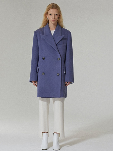 ETCH Double Breasted Wool Coat - Lavender