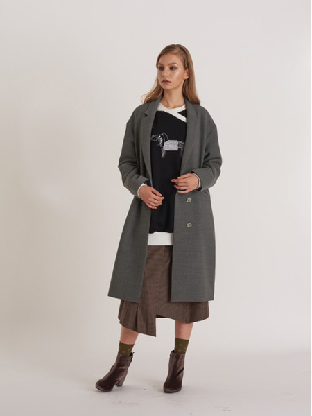 FREAKS Minimal Loose Fit Wool Coat-Dress With Puppy Embro - Gray