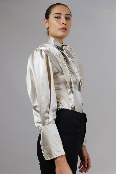 House of Sunny Silk Neck Tied Shirt